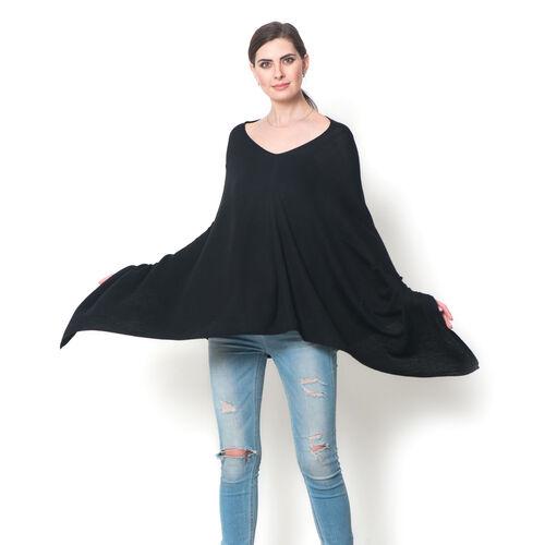 100% Merino Cashmere Wool Black Colour Body Shawl (Free Size)