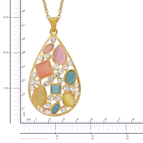 White Austrian Crystal and Simulated Multi Colour Cats Eye Pendant in Gold Tone with Stainless Steel Rope Chain (Size 24)