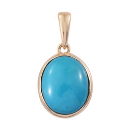 ILIANA 18K Yellow Gold 2.75 Ct AAA Arizona Sleeping Beauty Turquoise Oval Solitaire Pendant