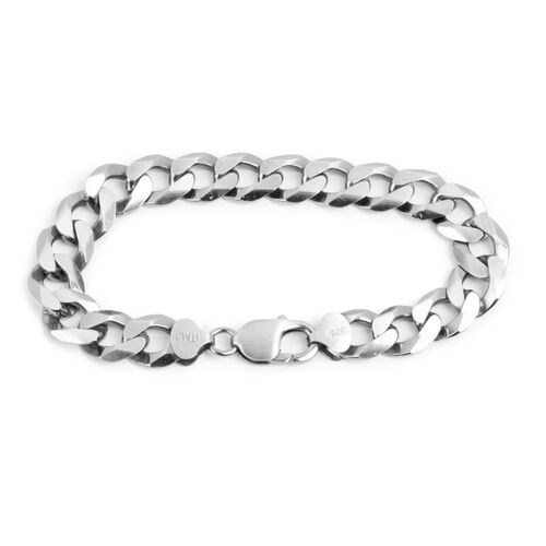 JCK Vegas Collection Platinum Overlay Sterling Silver Curb Bracelet (Size 8.5), Silver wt 34.34 Gms.