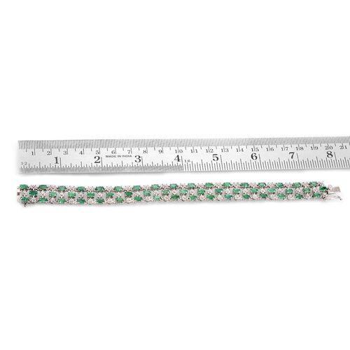 Kagem Zambian Emerald (Ovl), Diamond Bracelet in Platinum Overlay Sterling Silver (Size 7.5) 10.020 Ct.
