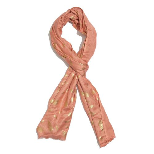 Designer Inspired - Peach and Golden Colour Foil Feathers Printed Scarf with Fringes (Size 200X65 Cm)