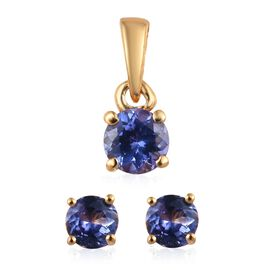 Tanzanite (Rnd) Solitaire Pendant and Stud Earrings (with Push Back) in 14K Gold Overlay Sterling Silver 1.000 Ct.