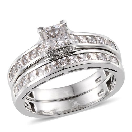 J Francis - Platinum Overlay Sterling Silver (Sqr) Ring Made With SWAROVSKI ZIRCONIA 2.335 Ct.