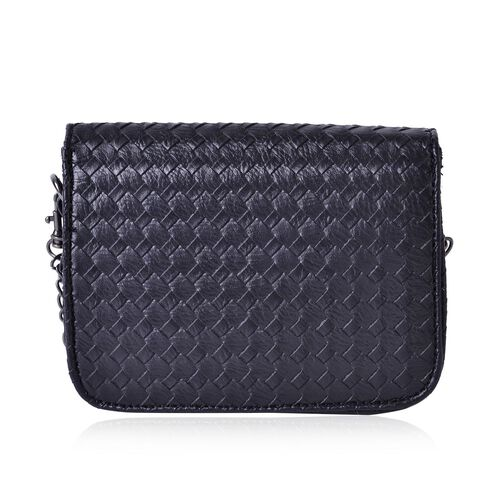 Black Colour Weave Net Pattern Crossbody Bag with Removable Chain Strap (Size 18x13x5.5 Cm)