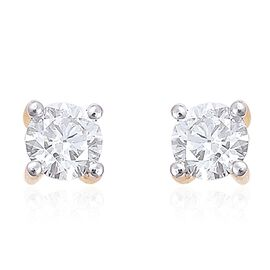 ILIANA 1/2 Carat Diamond Round Solitaire Stud Earrings in 18K Gold IGI Certified SI G-H with Screw Back
