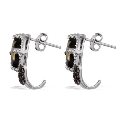 Goldenite (Ovl), Diamond Earrings (with Push Back) in Platinum Overlay Sterling Silver 4.040 Ct.