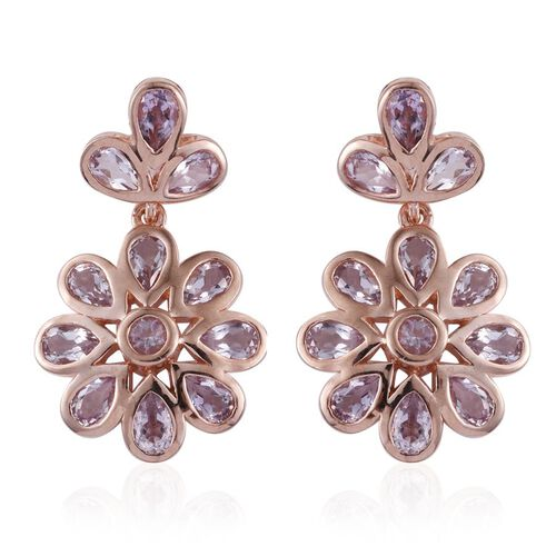 Rose De France Amethyst (Pear) Floral Earrings (with Push Back) in Rose Gold Overlay Sterling Silver 4.000 Ct.