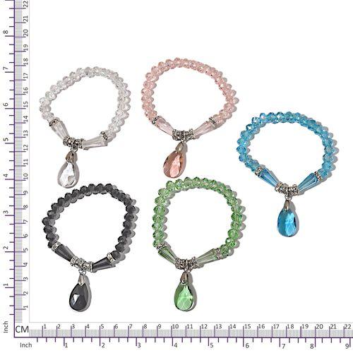 Set of 5 - Simulated Aquamarine, Simulated Black Spinel and Multi Gemstone Stretchable Bracelet.
