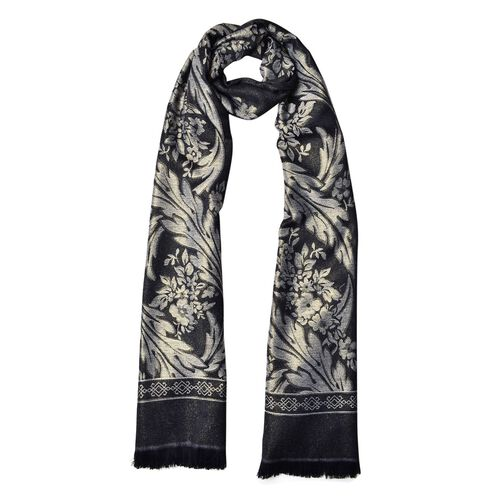 Leaves and Floral Pattern Black Colour Scarf with Fringes (Size 180x70 Cm)