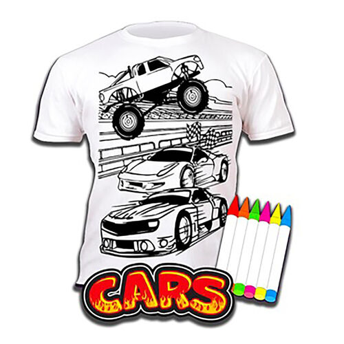 100% Cotton Cars Childrens T-Shirt Age 5-6 (Medium) (Size 116 Cm) Estimated delivery within 5-7 working days