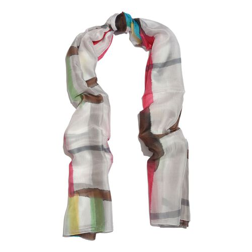 100% Mulberry Silk White, Chocolate and Multi Colour Handscreen Printed Scarf (Size 200X180 Cm)