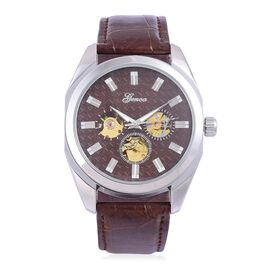 GENOA Automatic Skeleton Chocolate Dial Water Resistant Watch in Silver Tone with Glass Back and Chocolate Colour Leather Strap