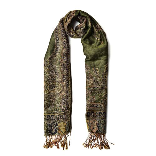 Gold and Multi Colour Fern Pattern Olive Green Colour Scarf with Tassels (Size 170x65 Cm)
