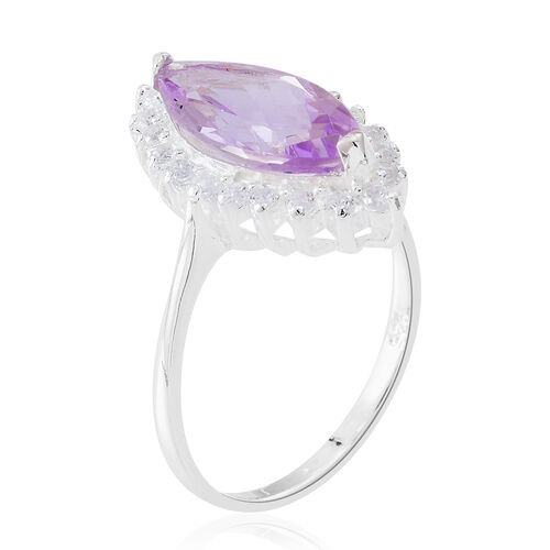 Rose De France Amethyst (Mrq 3.50 Ct), White Zircon Ring in Sterling Silver 4.250 Ct.