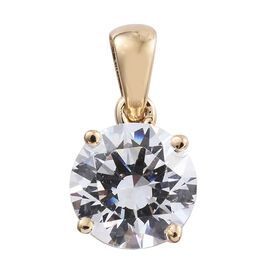 J Francis - 9K Y Gold (Rnd) Solitaire Pendant Made with SWAROVSKI ZIRCONIA