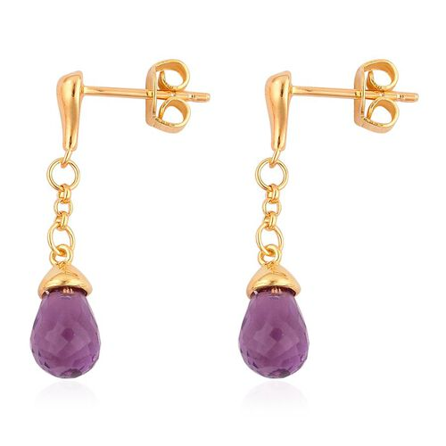 LucyQ Amethyst Earrings (with Push Back) in Yellow Gold Overlay Sterling Silver
