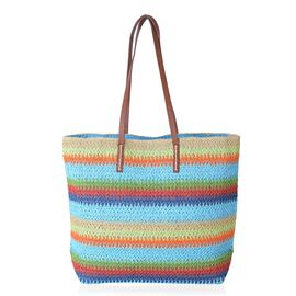 Turquoise and Rainbow Colour Stripe Pattern Straw Tote Beach Bag (Size 47x37x34x15.5 Cm)