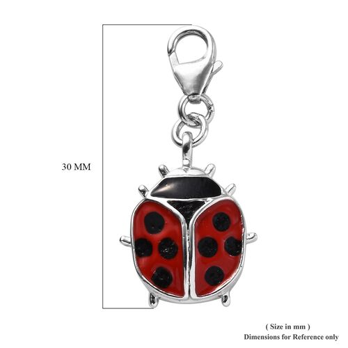 Red and Black Colour Ladybird Charm in Platinum Plated Silver