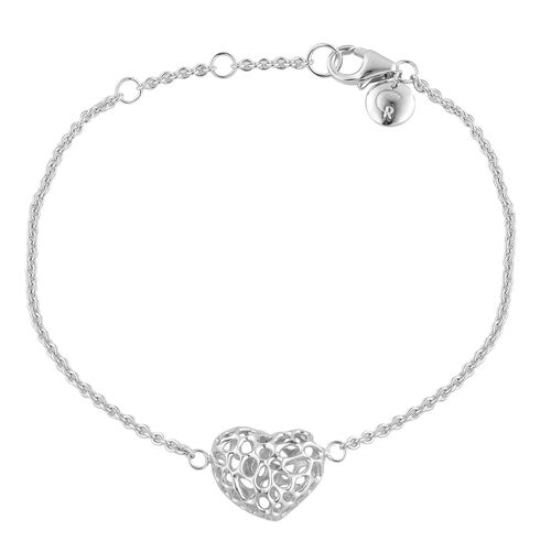 RACHEL GALLEY Rhodium Plated Sterling Silver Amore Heart Lattice Bracelet (Size 8),