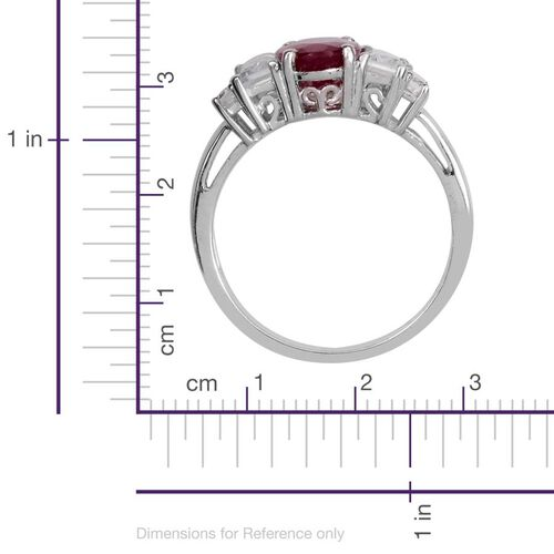 African Ruby (Ovl 2.00 Ct), White Topaz Ring in Platinum Overlay Sterling Silver 3.500 Ct.