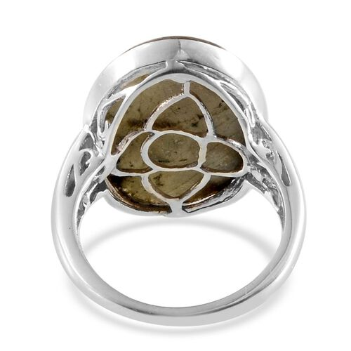 Labradorite (Ovl) Solitaire Ring in Platinum Overlay Sterling Silver 15.000 Ct.