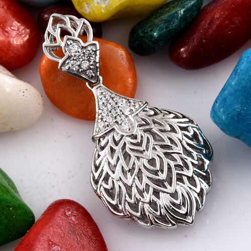 J Francis - Platinum Overlay Sterling Silver (Rnd) Pendant Made with SWAROVSKI ZIRCONIA, Silver wt 5.59 Gms.