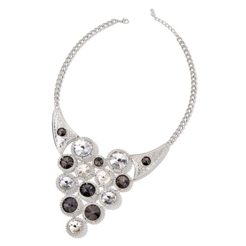 Designer Inspired - Simulated White and Grey Diamond BIB Necklace (Size 22 with 2 inch Extender) in Silver Tone