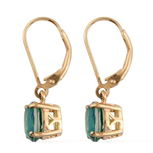Peacock Quartz (Ovl) Lever Back Earrings in 14K Gold Overlay Sterling Silver 3.250 Ct.