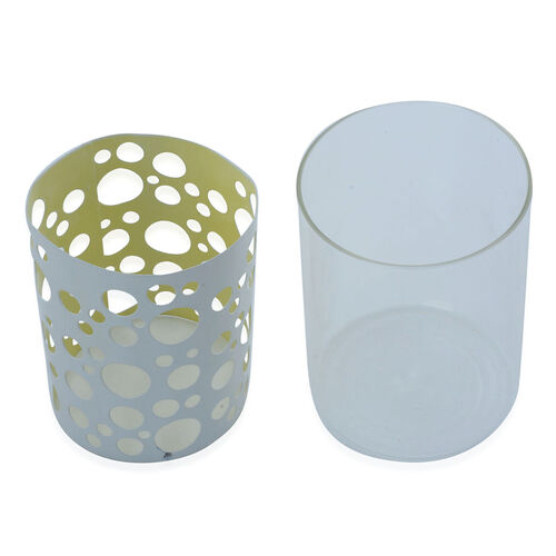 Home Decor - White Colour Circle Pattern Glass Candle Holder