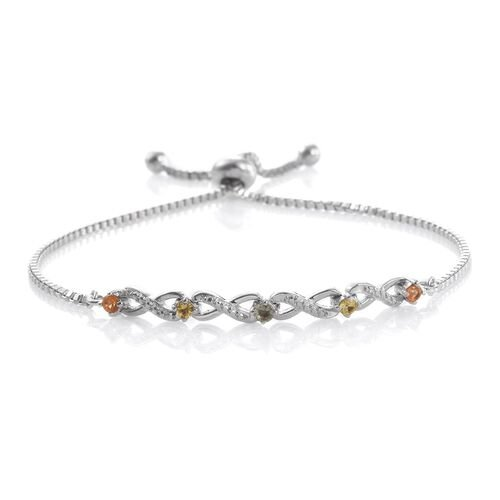Rainbow Sapphire (Rnd) Adjustable Infinity Bracelet (Size 6.5 to 8.5) in ION Plated Platinum Bond