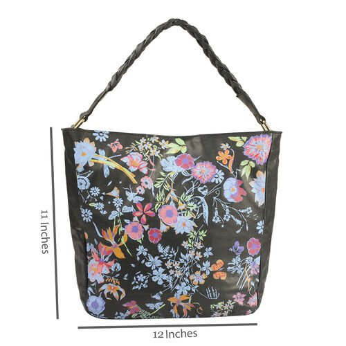 Genuine Leather RFID Blocker Black, Blue and Multi Colour Floral Pattern Bag with Braided Shoulder Strap (Size 40X36X32X10 Cm)