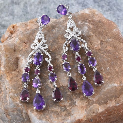 GP Amethyst (Pear), Rhodolite Garnet, White Topaz and Kanchanaburi Blue Sapphire Earrings (with Push Back) in Platinum Overlay Sterling Silver 12.000 Ct.