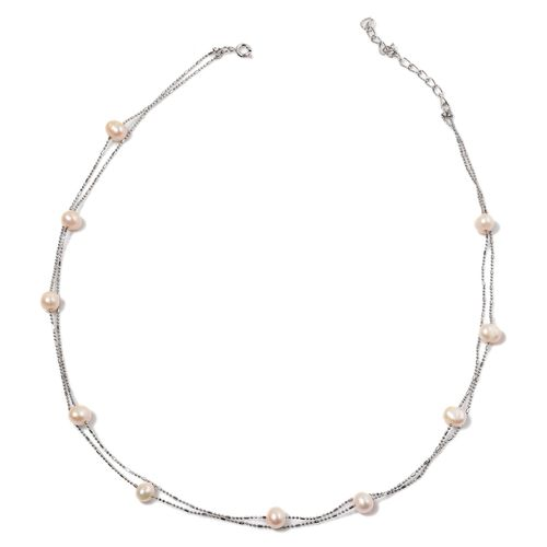 Fresh Water White Pearl Necklace (Size 36) and Bracelet (Size 7.50) in Silver Tone