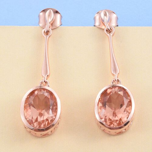 Galileia Blush Pink Quartz (Ovl) Earrings (with Push Back) in Rose Gold Overlay Sterling Silver 6.000 Ct.