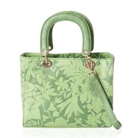 Light Green Colour Flower Embossed Tote Bag with Removable Shoulder Strap (Size 25.5x21x12.5 Cm)