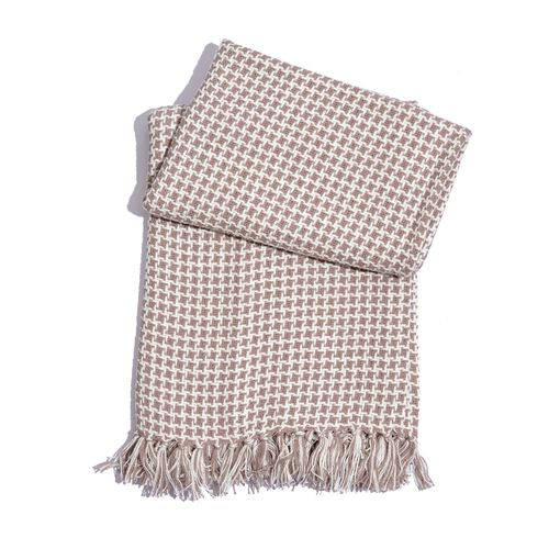 100% Cotton Houndstooth Pattern Cream and White Colour Plaid with Tassels (Size 150x125 Cm)