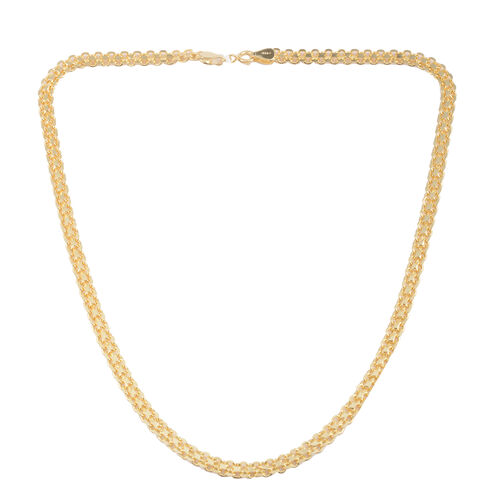 Vicenza Collection 14K Gold Overlay Sterling Silver Bismark Necklace (Size 20), Silver wt 10.50 Gms.