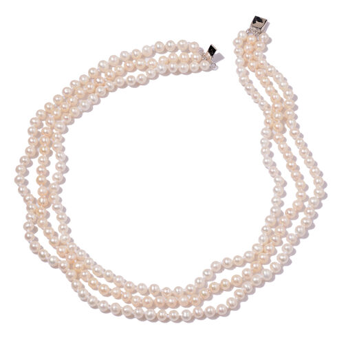 Fresh Water White Pearl 3 Strand Necklace (Size 16) in Sterling Silver