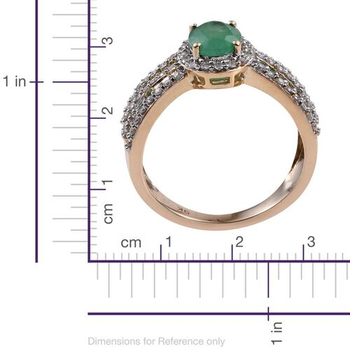 9K Y Gold Kagem Zambian Emerald (Ovl 1.15 Ct), Diamond Ring 2.000 Ct.