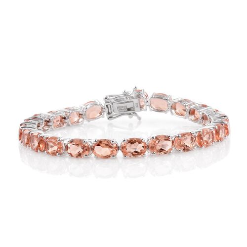Galileia Blush Pink Quartz (Ovl) Bracelet (Size 7.5) in Platinum Overlay Sterling Silver 31.500 Ct.