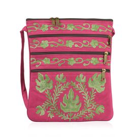 Green and Fuchsia Colour Hand Embroidered Floral and Leaves Pattern Sling Bag with External Zipper Pocket (Size 26X22 Cm)