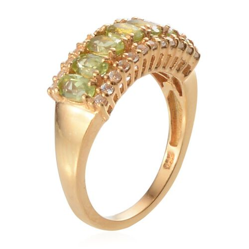Hebei Peridot (Ovl), White Topaz Ring in Yellow Gold Overlay Sterling Silver 1.900 Ct.