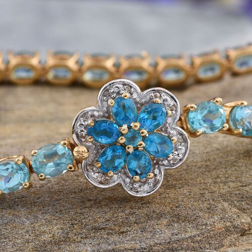 Paraiba Apatite (Ovl), Malgache Neon Apatite and White Topaz Floral Bracelet (Size 7.5) in 14K Gold Overlay Sterling Silver 13.250 Ct.