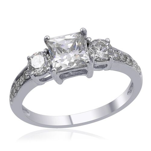 J Francis - Platinum Overlay Sterling Silver (Sqr) Ring Made with SWAROVSKI ZIRCONIA 1.890 Ct.