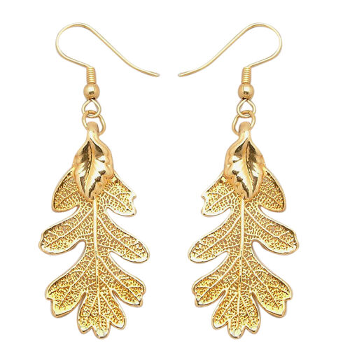 Real Lacey Oak Leaf Hook Earrings Dipped in 24K Yellow Gold