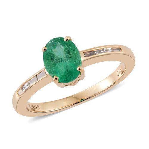 ILIANA 18K Yellow Gold AAA Boyaca Colombian Emerald (Ovl 0.94 Ct), Diamond (SI/G-H) Ring 1.000 Ct.