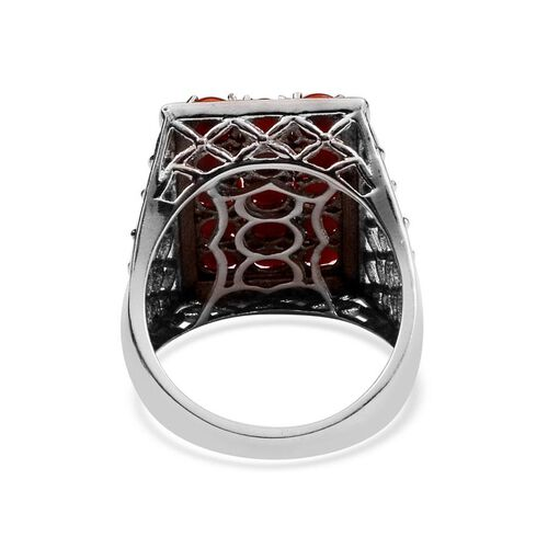Natural Mediterranean Coral (Rnd) Ring in Platinum Overlay Sterling Silver 4.000 Ct.