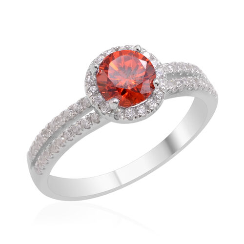 AAA Simulated Ruby (Rnd), Simulated Diamond Ring in Sterling Silver