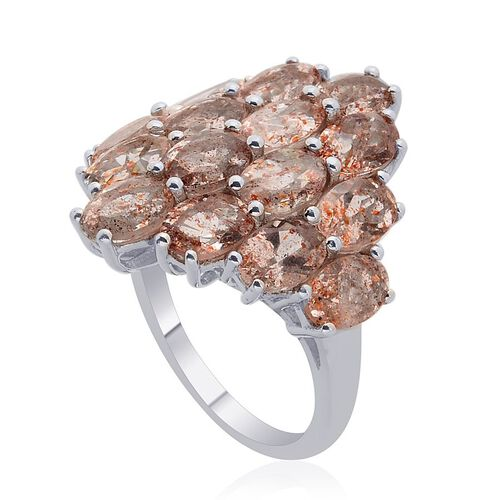 Tanzanian Sun Stone 6.25CT Cluster Ring In Platinum Plated Sterling Silver